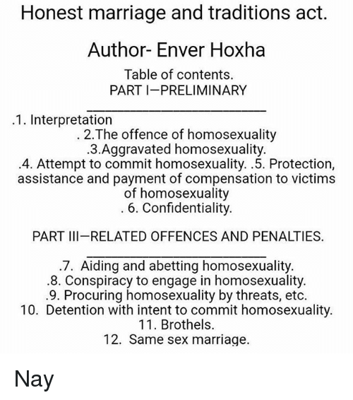 Enver Hoxha: Honest marriage and traditions act.  Author- Enver Hoxha  Table of contents.  PART I PRELIMINARY  .1. Interpretation  2.The offence of homosexuality  .3.Aggravated homosexuality.  4. Attempt to commit homosexuality. .5. Protection,  assistance and payment of compensation to victims  of homosexuality  6. Confidentiality.  PART III-RELATED OFFENCES AND PENALTIES  .7. Aiding and abetting homosexuality.  .8. Conspiracy to engage in homosexuality.  .9. Procuring homosexuality by threats, etc  10. Detention with intent to commit homosexuality  11. Brothels  12. Same sex marriage. Nay