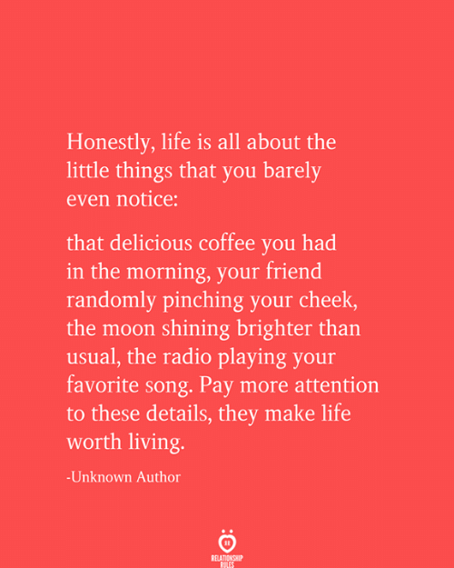 cheek: Honestly, life is all about the  little things that you barely  even notice:  that delicious coffee you had  in the morning, your friend  randomly pinching your cheek,  the moon shining brighter than  usual, the radio playing your  favorite song. Pay more attention  to these details, they make life  worth living.  -Unknown Author  RELATIONSHIP  RULES