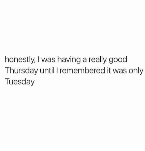 Dank, Good, and Really: honestly, was having a really good  Thursday until I remembered it was only  Tuesday