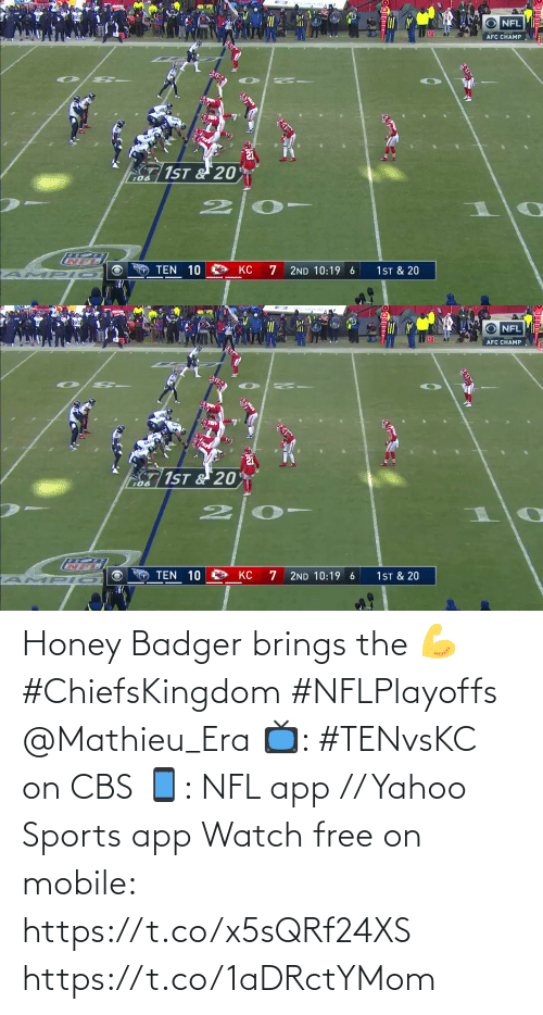 honey: Honey Badger brings the 💪 #ChiefsKingdom #NFLPlayoffs @Mathieu_Era  📺: #TENvsKC on CBS 📱: NFL app // Yahoo Sports app Watch free on mobile: https://t.co/x5sQRf24XS https://t.co/1aDRctYMom
