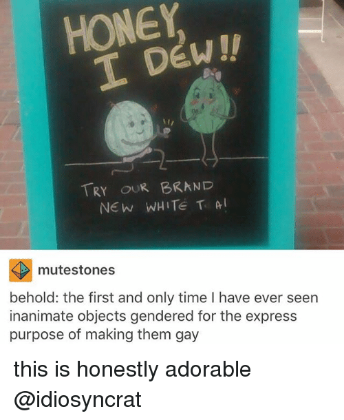 Memes, Express, and Time: HONEY  DEW!!  TRY OUR BRAND  NEW WHITE T A  mutestones  behold: the first and only time l have ever seen  inanimate objects gendered for the express  purpose of making them gay this is honestly adorable @idiosyncrat