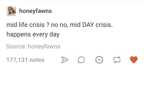 Life, Humans of Tumblr, and Source: honeyfawns  mid life crisis ? no no, mid DAY crisis.  happens every day  Source: honeyfawns  177,131 notesD