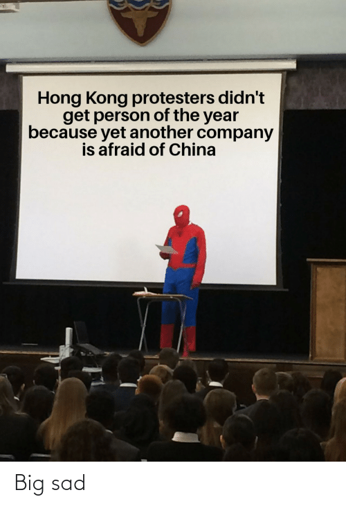 Protesters: Hong Kong protesters didn't  get person of the year  because yet another company  is afraid of China Big sad