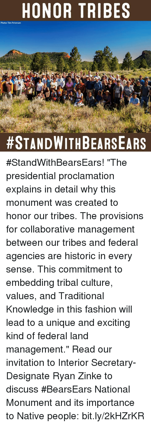 """Memes, Historical, and 🤖: HONOR TRIBES  Photo: Tim Peterson  #StandWithBearsEars! """"The presidential proclamation explains in detail why this monument was created to honor our tribes. The provisions for collaborative management between our tribes and federal agencies are historic in every sense. This commitment to embedding tribal culture, values, and Traditional Knowledge in this fashion will lead to a unique and exciting kind of federal land management.""""  Read our invitation to Interior Secretary-Designate Ryan Zinke to discuss #BearsEars National Monument and its importance to Native people: bit.ly/2kHZrKR"""