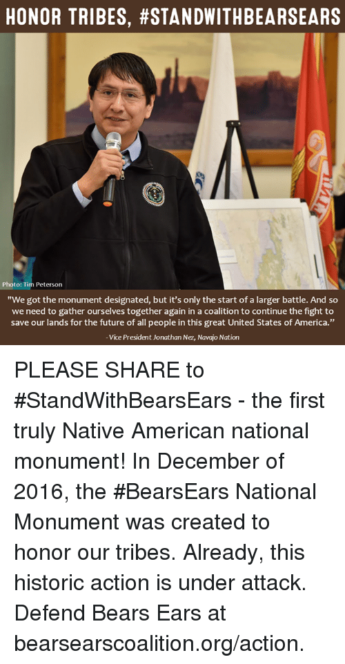 """nativity: HONOR TRIBES, #STANDWITHBEARSEARS  Photo: Tim Peterson  """"We got the monument designated, but it's only the start of a larger battle. And so  we need to gather ourselves together again in a coalition to continue the fight to  save our lands for the future of all people in this great United States of America.""""  Vice President Jonathan Nez, Navajo Nation PLEASE SHARE to #StandWithBearsEars - the first truly Native American national monument!  In December of 2016, the #BearsEars National Monument was created to honor our tribes. Already, this historic action is under attack. Defend Bears Ears at bearsearscoalition.org/action."""