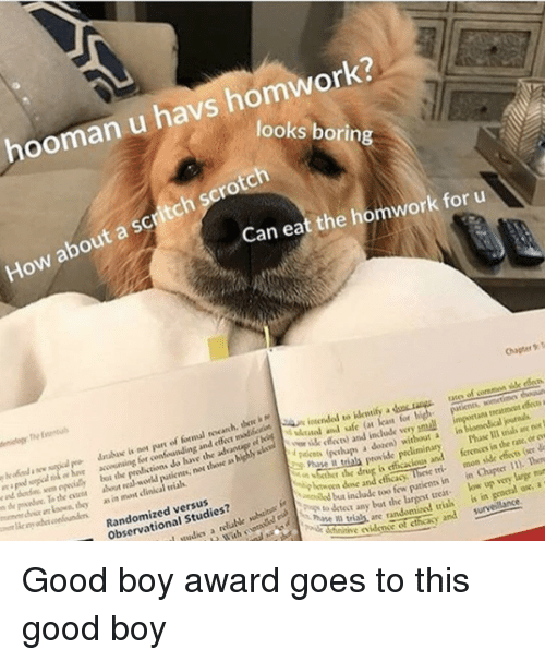 mun: hooman u havs homwork?  looks borin  How about a scritch scrotch  Can eat the homwork for u  Chaper T  atee of coremon sille rdo  accwining for confounding and e madloctSn in  lybt the  the oen about real workd  i  loan for  y ik feces) and include very pmuall  putienes, nos thone as highly sla  treatmcet effe a  i are  as in most clinical vials  r  pakos (pthups a dozen) without a in  Phase Il trials an no  ferenos in the rate, or ew  r the drug is efficacious and  Randomized versus  Observational Studies?  btwoen done and cthcacy  tinow patienn in in Cher ). Ten  low up very large mun  any bat the largest treat  as are randomized trias is in geocral ox, a  tie iden of cthcasy and survelance. Good boy award goes to this good boy