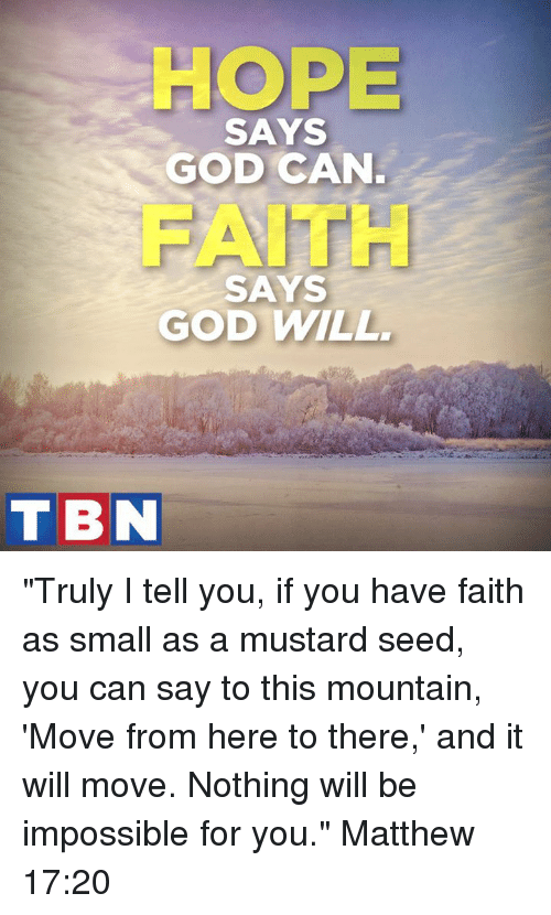 """Impossibility: HOPE  SAYS  GOD CAN  AITH  SAYS  GOD WILL  TBN """"Truly I tell you, if you have faith as small as a mustard seed, you can say to this mountain, 'Move from here to there,' and it will move. Nothing will be impossible for you."""" Matthew 17:20"""