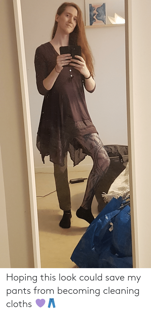 cloths: Hoping this look could save my pants from becoming cleaning cloths 💜👖