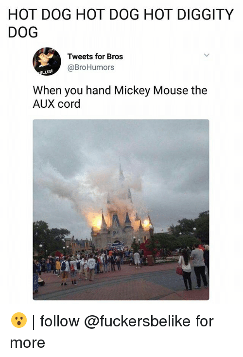 Memes, Mickey Mouse, and Mouse: HOT DOG HOT DOG HOT DIGGITY  DOG  Tweets for Bros  @BroHumors  When you hand Mickey Mouse the  AUX cord  AII 😮 | follow @fuckersbelike for more