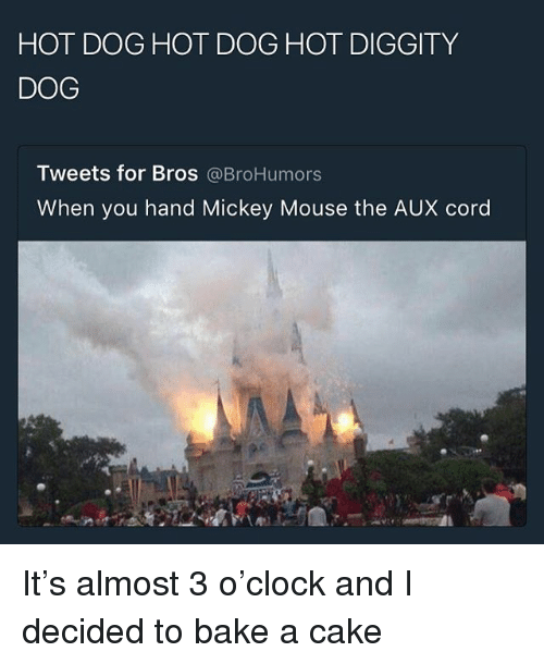 Memes, Cake, and Mickey Mouse: HOT DOG HOT DOG HOT DIGGITY  DOG  Tweets for Bros @BroHumors  When you hand Mickey Mouse the AUX cord It's almost 3 o'clock and I decided to bake a cake