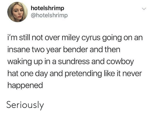 Miley Cyrus: hotelshrimp  @hotelshrimp  i'm still not over miley cyrus going on an  insane two year bender and then  waking up in a sundress and cowboy  hat one day and pretending like it never  happened Seriously