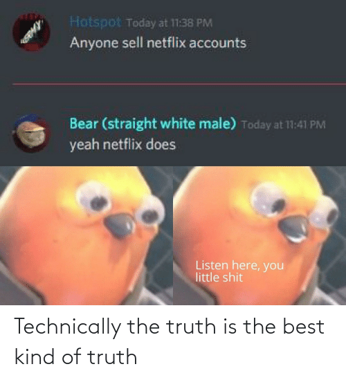 Listen Here You Little: Hotspot Today at 11:38 PM  Anyone sell netflix accounts  Bear (straight white male) Today at 11:41 PM  yeah netflix does  Listen here, you  little shit Technically the truth is the best kind of truth