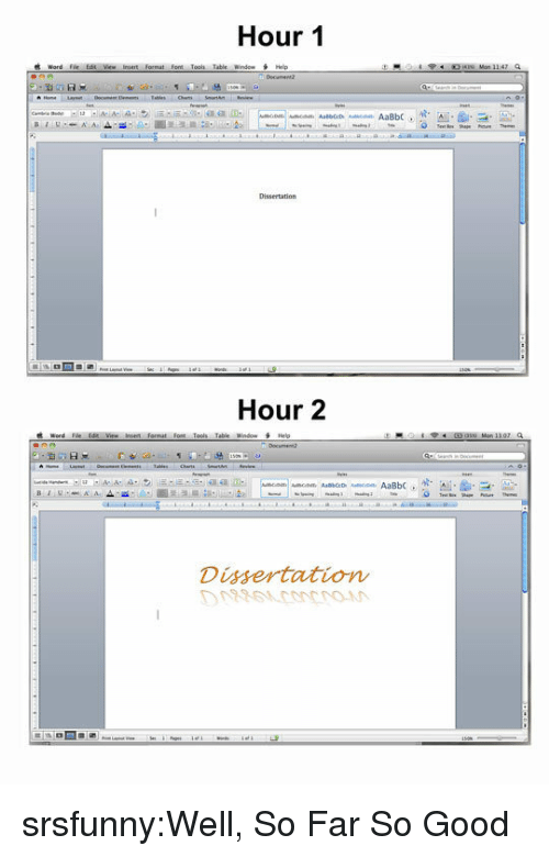 helo: Hour 1  Word Fil, Edit Vie- iniert format font Toon table wnde- H  Hour 2  Table Window  Helo  Dissertation srsfunny:Well, So Far So Good