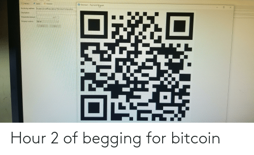 Bitcoin: Hour 2 of begging for bitcoin