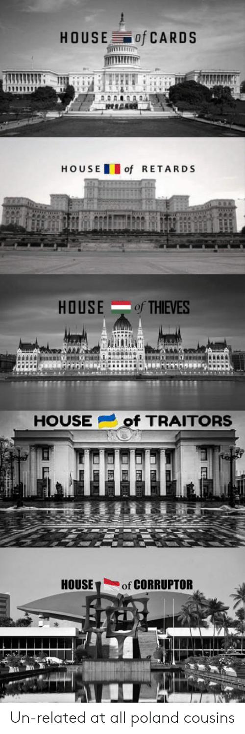 House of Cards: HOUSE of CARDS  HOU SEof RETARDS  HOUSEof THIEVES  HOUSEof TRAITORS  HOUSEof CORRUPTOR Un-related at all poland cousins