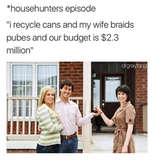 """Braids, Budget, and Wife: *househunters episode  i recycle cans and my wife braids  pubes and our budget is $2.3  million""""  drgrayfang"""