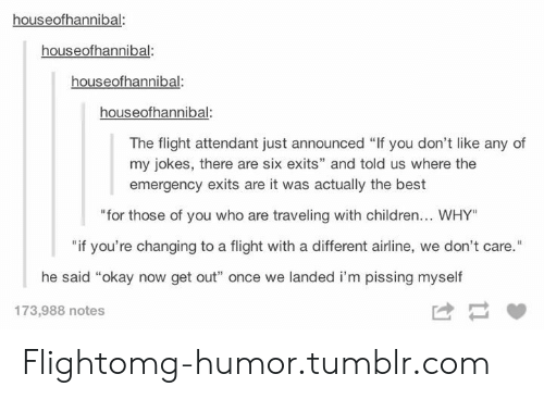 """Jokes: houseofhannibal:  houseofhannibal:  houseofhannibal:  houseofhannibal  The flight attendant just announced """"If you don't like any of  my jokes, there are six exits"""" and told us where the  emergency exits are it was actually the best  for those of you who aretraveling with children..w.HY  """"if you're changing to a flight with a different airline, we don't care.""""  he said """"okay now get out"""" once we landed i'm pissing myself  173,988 notes Flightomg-humor.tumblr.com"""