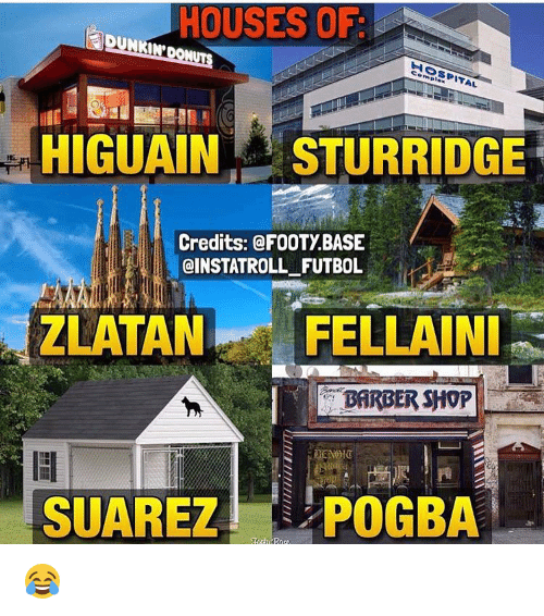 Barbershop, Soccer, and Barbershops: HOUSES OF  ITAL  HIGUAIN STURRIDGE  Credits: @FOOTy BASE  @INSTATROLL FUTBOL  ZLATAN FELLAINI  BARBERSHOP  SUAREZ  POGBA 😂