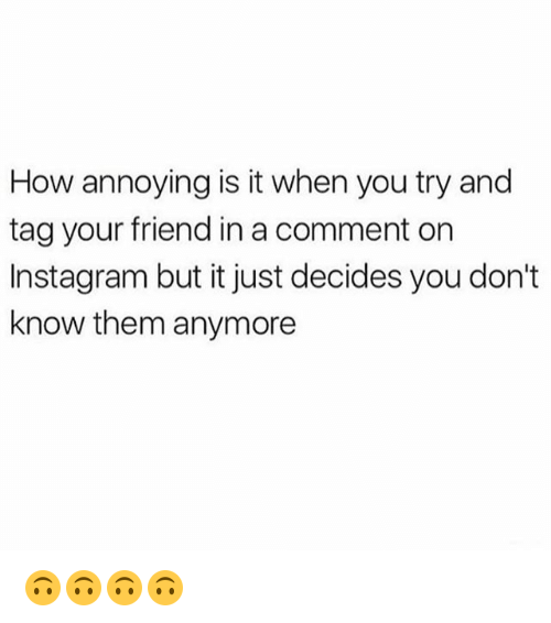 Instagram, Memes, and Annoying: How annoying is it when you try and  tag your friend in a comment on  Instagram but it just decides you don't  know them anymore 🙃🙃🙃🙃
