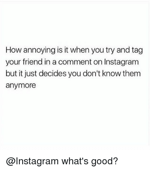 Instagram, Good, and Girl Memes: How annoying is it when you try and tag  your friend in a comment on Instagram  but it just decides you don't know them  anymore @Instagram what's good?