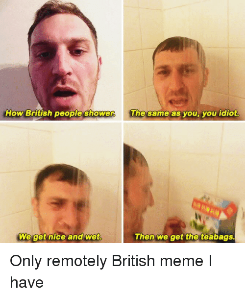 Funny, Meme, and Memes: How British people shower  The same as you, you idiot  We get nice and wet.  Then we get the teabags. Only remotely British meme I have