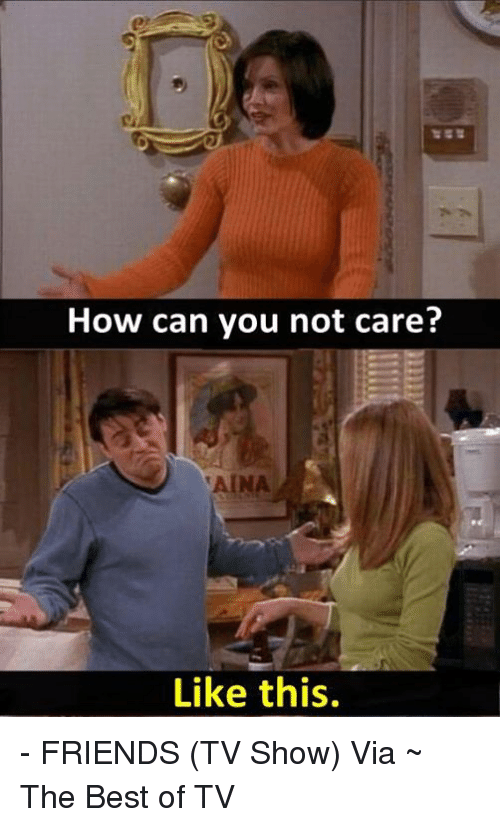 Friends, Friends (TV Show), and Memes: How can you not care?  Like this. - FRIENDS (TV Show)   Via ~ The Best of TV