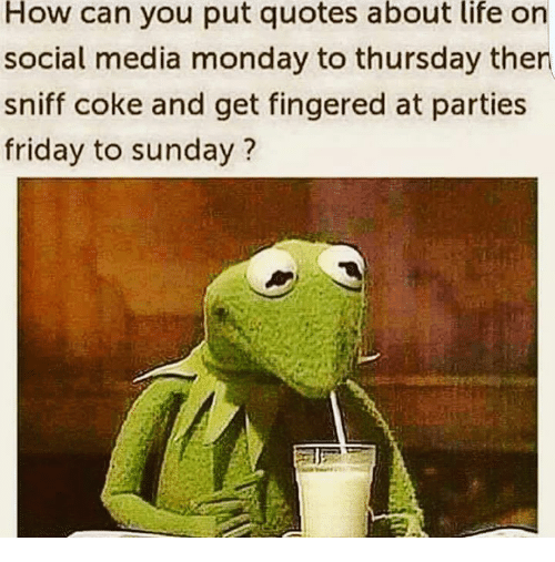 quotes about life: How can you put quotes about life on  social media monday to thursday then  sniff coke and get fingered at parties  friday to sunday?
