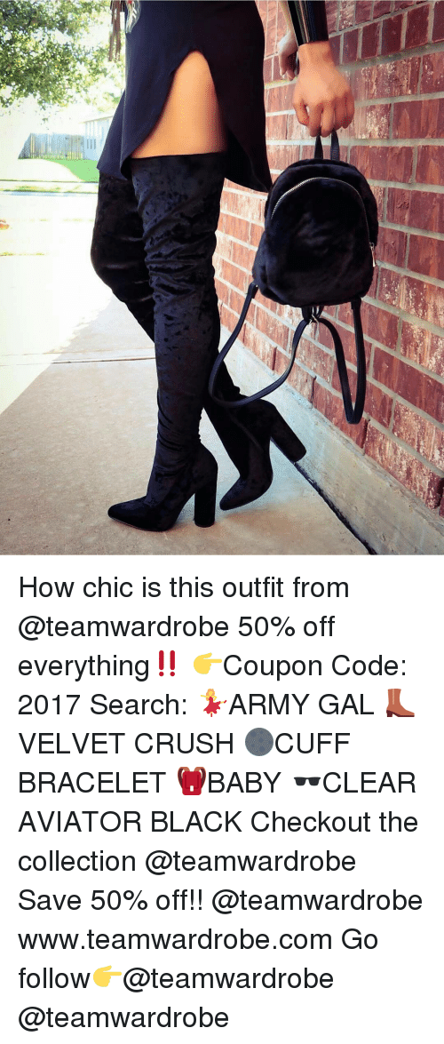 Aviators: How chic is this outfit from @teamwardrobe 50% off everything‼️ 👉Coupon Code: 2017 Search: 💃ARMY GAL 👢VELVET CRUSH 🌑CUFF BRACELET 🎒BABY 🕶CLEAR AVIATOR BLACK Checkout the collection @teamwardrobe Save 50% off!! @teamwardrobe www.teamwardrobe.com Go follow👉@teamwardrobe @teamwardrobe