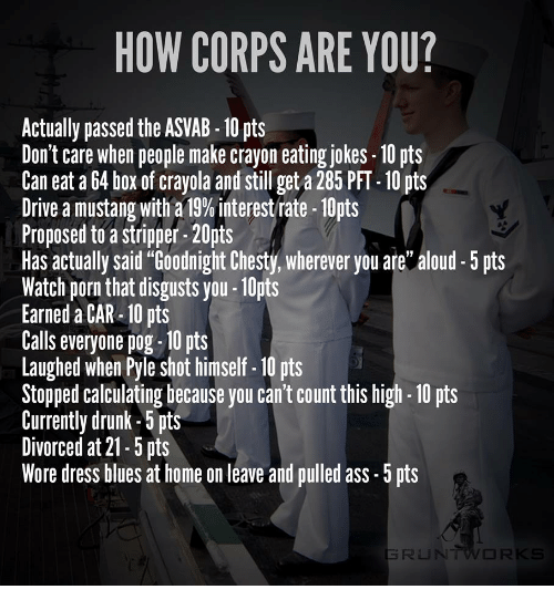 "dress blues: HOW CORPS ARE YOU?  Actually passed the ASVAB -10 pts  Don't care when people make crayon eating jokes-10 pts  Can eat a 64 box of crayola and still get a 285 PFT- 10 pts  Drive a mustang with a 13% interest rate-10pts  Proposed to a stripper-20pts  Has actually said ""Goodnight Chesty, wherever you are aloud5 s  Watch porn that disgusts you-1Opts  Earned a CAR-10 pts  Calls everyone pog-10 pts  Laughed when Pyle shot himself-10 pts  Stopped calculating because you can't count this high 10 pts  Currently drunk-5 pts  Divorced at 21-5 pts  Wore dress blues at home on leave and pulled ass-5 pts"