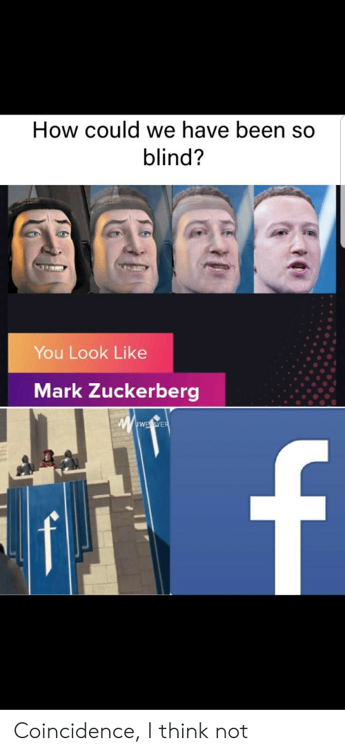 I Think Not: How could we have been so  blind?  You Look Like  Mark Zuckerberg  wwwE.eWER  f Coincidence, I think not