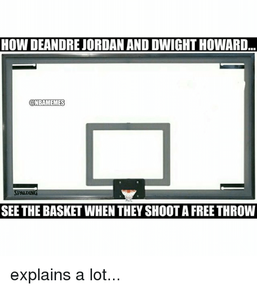 meme: HOW DEANDRE JORDAN ANDDWIGHTHOWARD  NBA MEMES  SPALDING  SEE THE BASKET WHEN THEY SHOOT A FREETHROW explains a lot...