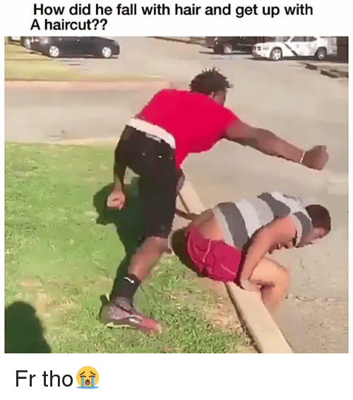 Fall, Funny, and Haircut: How did he fall with hair and get up with  A haircut?? Fr tho😭