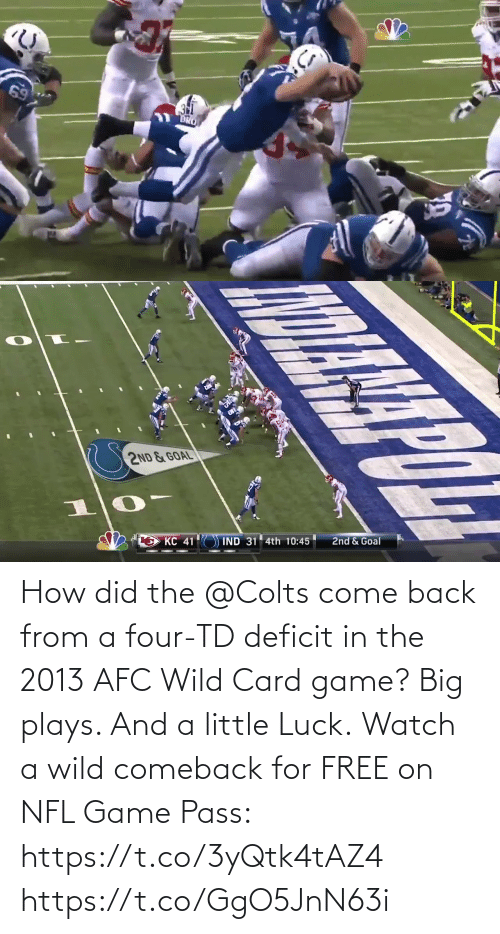 Luck: How did the @Colts come back from a four-TD deficit in the 2013 AFC Wild Card game?  Big plays. And a little Luck.  Watch a wild comeback for FREE on NFL Game Pass: https://t.co/3yQtk4tAZ4 https://t.co/GgO5JnN63i