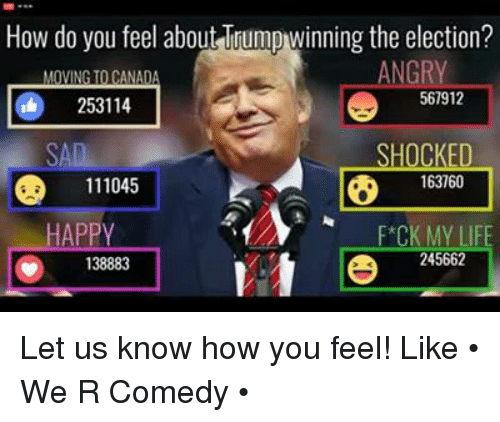 Happy, Dank Memes, and Angry: How do you feel about Trumpwinning the election?  ANGRY  VIN  ANA  567912  253114  SHOCKED  163760  D 111045  HAPPY  F*CK MY LI  245662  138883 Let us know how you feel!   Like • We R Comedy •
