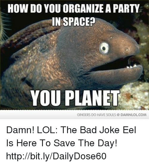 gingers do have souls: HOW DO YOU ORGANIZE A PARTY  IN SPACE  YOU PLANET  GINGERS DO HAVE SOULS DAMNLOLCOM Damn! LOL: The Bad Joke Eel Is Here To Save The Day! http://bit.ly/DailyDose60