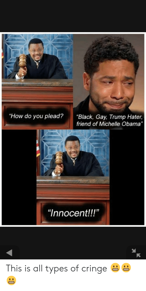 """Trump Hater: """"How do you plead?  """"Black, Gay, Trump Hater,  friend of Michelle Obama  """"Innocent!!"""" This is all types of cringe 😬😬😬"""