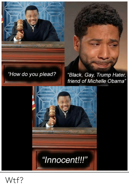 """Trump Hater: """"How do you plead?""""Black, Gay, Trump Hater,  friend of Michelle Obama  """"Innocent!!"""" Wtf?"""