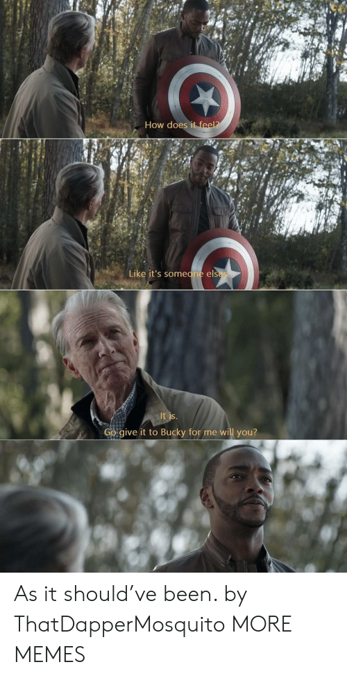 how does it feel: How does it feel?  Like it's someone elses  It is.  Go give it to Bucky for me will you? As it should've been. by ThatDapperMosquito MORE MEMES