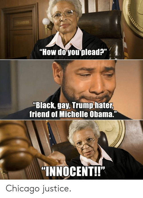 """Trump Hater: """"How doyou plead?""""  """"Black, gay, Trump hater  friend of Michelle Obama.""""  """"INNOCENT!!"""" Chicago justice."""