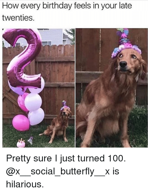 Anaconda, Birthday, and Memes: How every birthday feels in your late  twenties. Pretty sure I just turned 100. @x__social_butterfly__x is hilarious.