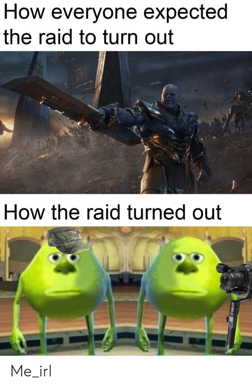 the raid: How everyone expected  the raid to turn out  How the raid turned out Me_irl