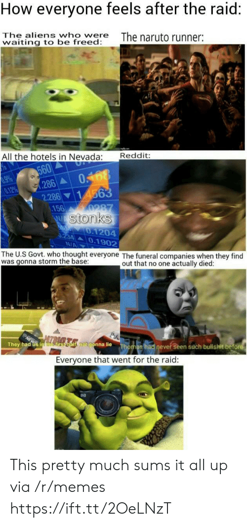 Nevada: How everyone feels after the raid:  The aliens who were  waiting to be freed:  The naruto runner:  Reddit:  All the hotels in Nevada:  560  286  0168  14563  9660  0.12%  2.286  .156  0287  W Stonks  d 0.1204  0234 0.1902  N/A  The U.S Govt. who thought everyone The funeral companies when they find  was gonna storm the base  out that no one actually died:  ls rsomls.notgonna lie  They had Gs in efirst  Thomas had never seen such bullshit before  Everyone that went for the raid: This pretty much sums it all up via /r/memes https://ift.tt/2OeLNzT