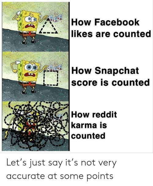 facebook likes: How Facebook  likes are counted   How Snapchat  score is counted  How reddit  karma is  counted Let's just say it's not very accurate at some points