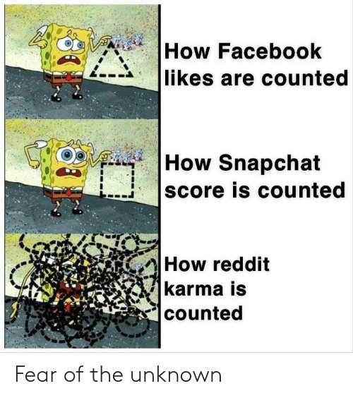 facebook likes: How Facebook  likes are counted  How Snapchat  score is counted  How reddit  karma is  counted Fear of the unknown
