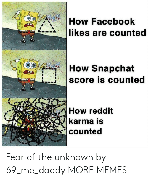 facebook likes: How Facebook  likes are counted  How Snapchat  score is counted  How reddit  karma is  counted Fear of the unknown by 69_me_daddy MORE MEMES