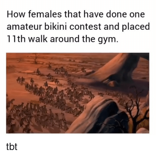 amateur: How females that have done one  amateur bikini contest and placed  11th walk around the gym tbt