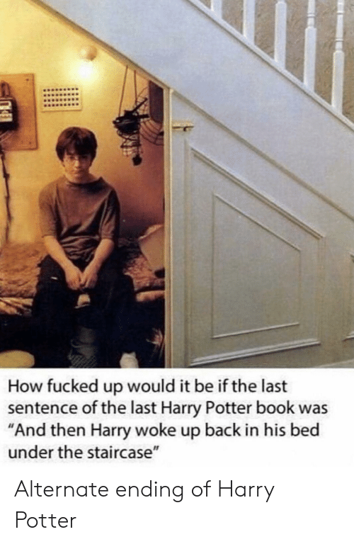 """harry potter book: How fucked up would it be if the last  sentence of the last Harry Potter book was  """"And then Harry woke up back in his bed  under the staircase"""" Alternate ending of Harry Potter"""