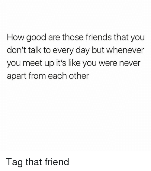 Friends, Memes, and Good: How good are those friends that you  don't talk to every day but whenever  you meet up it's like you were never  apart from each other Tag that friend