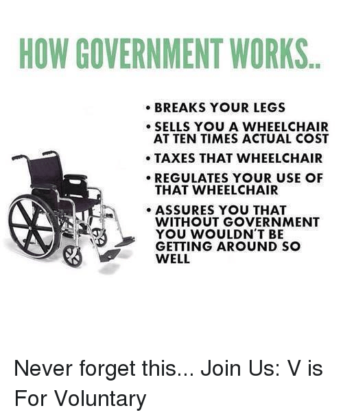 🤖: HOW GOVERNMENT WORKS  BREAKS YOUR LEGS  SELLS YOU A WHEELCHAIR  AT TEN TIMES ACTUAL COST  TAXES THAT WHEELCHAIR  REGULATES YOUR USE OF  THAT WHEELCHAIR  ASSURES YOU THAT  WITHOUT GOVERNMENT  YOU WOULDN'T BE  GETTING AROUND SO  WELL Never forget this...   Join Us: V is For Voluntary