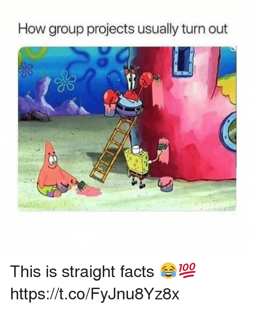 Facts, How, and Group: How group projects usually turn out This is straight facts 😂💯 https://t.co/FyJnu8Yz8x